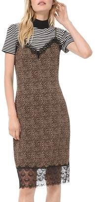 MICHAEL Michael Kors Animal-Print Lace-Detail Slip Dress
