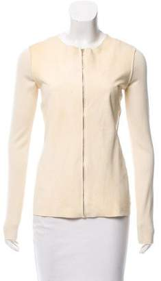 Calvin Klein Collection Suede Paneled Knit Cardigan w/ Tags