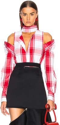 Monse Cold Shoulder Plaid Shirt