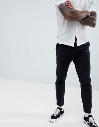New Look tapered chinos in black