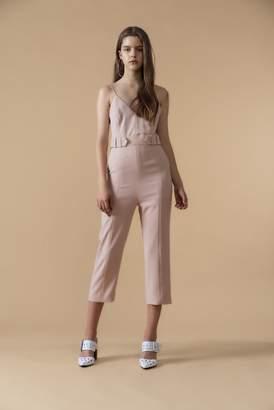 Genuine People Sleeveless Belted Jumpsuit in Cream