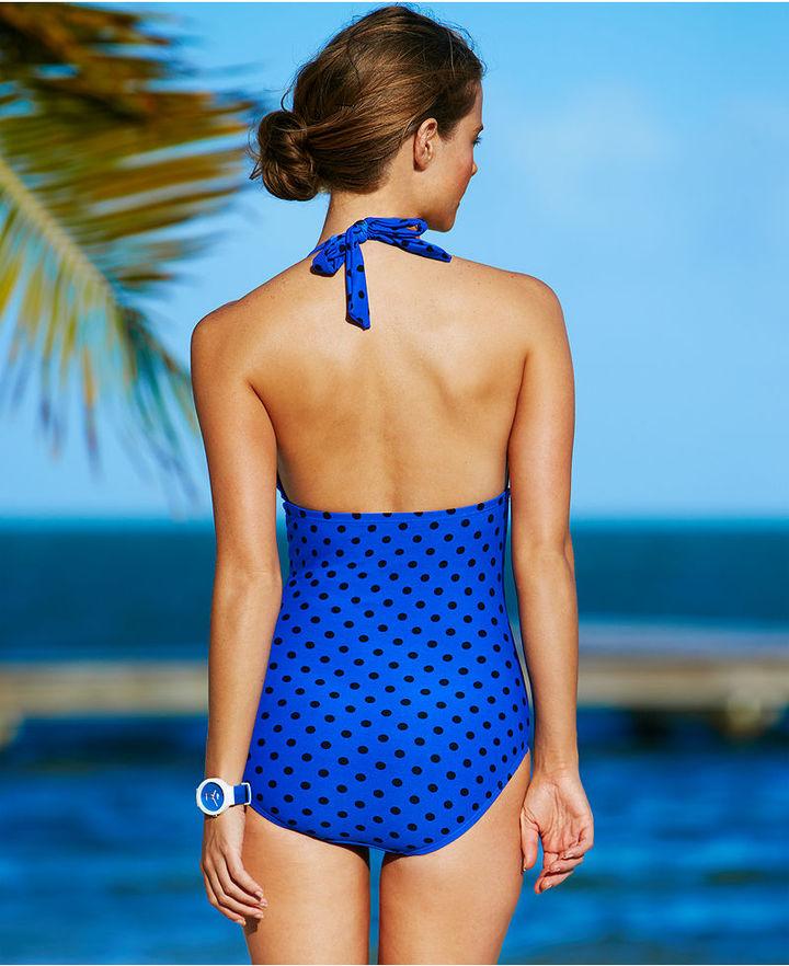 DKNY Swimsuit, Halter Polka-Dot-Print One-Piece