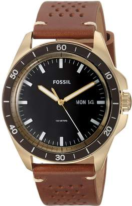 Fossil Men's FS5320 Sport 54 Three-Hand Day-Date Light Leather Watch