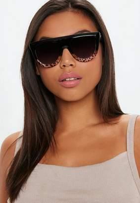 Missguided Brown Half Tortoise Shell Frame Sunglasses
