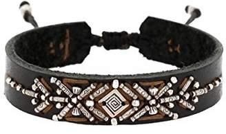 Chan Luu Black Mix Silvertone Beaded Black Leather Slip Knot Bracelet Adjustable