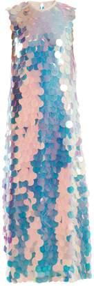 Sara Battaglia Round-neck sequin maxi dress