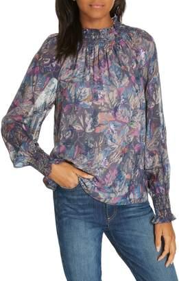 Rebecca Taylor Givery Fleur Metallic Silk Top