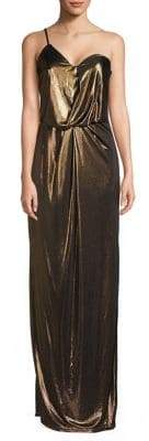 Halston Lame Asymmetrical One-Shoulder Column Gown