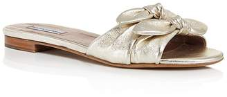 Tabitha Simmons Cleo Knotted Metallic Leather Slide Sandals