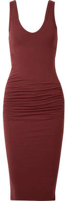 James Perse Ruched Stretch-cotton Jersey Midi Dress - Claret