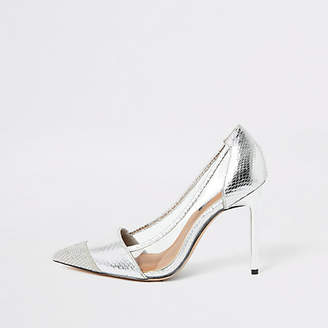 River Island Silver embossed perspex heeled court shoe