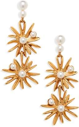 Oscar de la Renta Imitation Pearl Starburst Drop Earrings