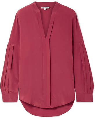 Equipment Estella Pleated Washed-silk Blouse - Brick