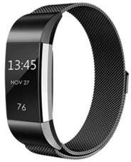 Fitbit Aquarius R144838 Replacement Milanese Stainless Steel Wrist Band For Fit-Bit Charge 2 With Unique Magnetic Closure Design - Black