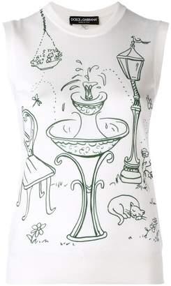 Dolce & Gabbana Garden print knit top