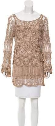 Alberta Ferretti Crocheted Long Sleeve Top