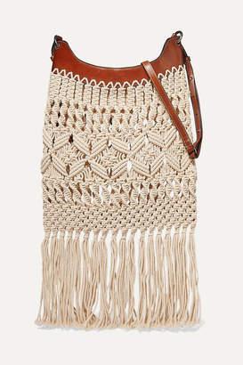 Isabel Marant Teomia Leather-trimmed Fringed Macramé Shoulder Bag - Ecru