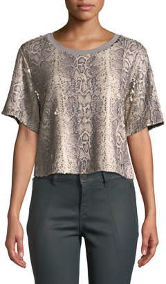 Ramy Brook Alexi Sequined Snake-Print Cropped Tee