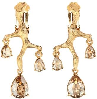 Oscar de la Renta Crystal embellished clip on earrings