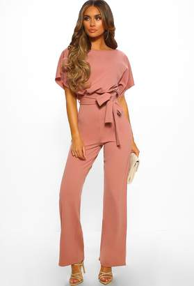 2dfd2c6a38a9 Pink Boutique Oh So Glam Rose Pink Belted Wide Leg Jumpsuit