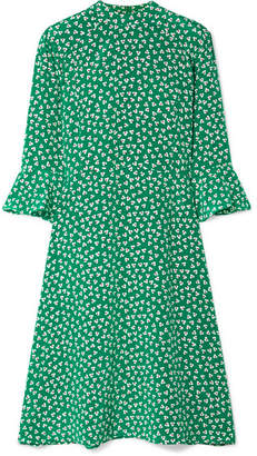 DAY Birger et Mikkelsen HVN - Ashley Floral-print Silk Crepe De Chine Dress - Green