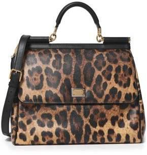 Dolce & Gabbana Miss Sicily Leopard-Print Textured-Leather Shoulder Bag
