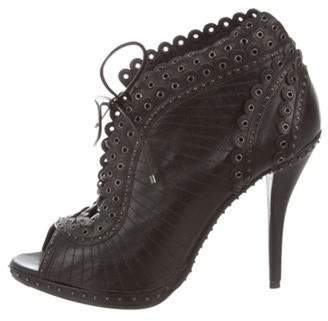 Christian Dior Leather Embellished Booties Black Leather Embellished Booties