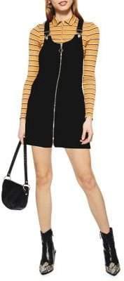 Topshop PETITE Zip Corduroy Pocket Pinafore Dress