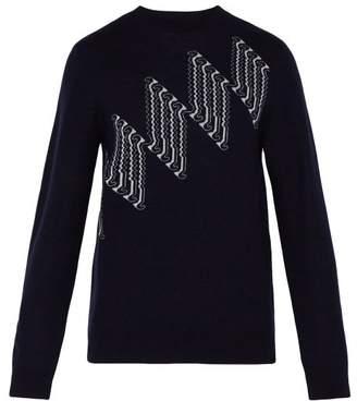 A.P.C. Diamond Jacquard Wool Blend Sweater - Mens - Dark Navy