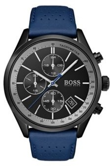 BOSS Black-dial watch with blue perforated leather strap