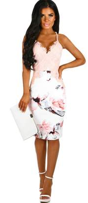 Pink Boutique Adorn You White and Nude Floral Lace Midi Dress
