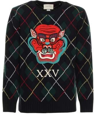 Gucci Dragon Argyle Sweater