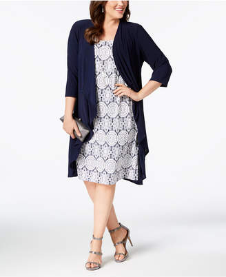 R & M Richards Plus Size Printed Dress and Jacket