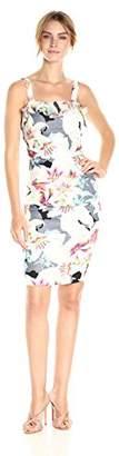 Nicole Miller Women's Spring Chambray Stretch Linen Ruffle Dress