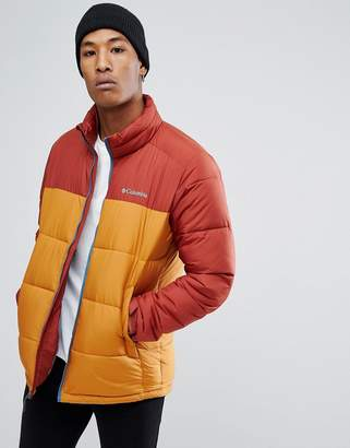 Columbia Pike Lake Puffer Jacket in Red/Gold