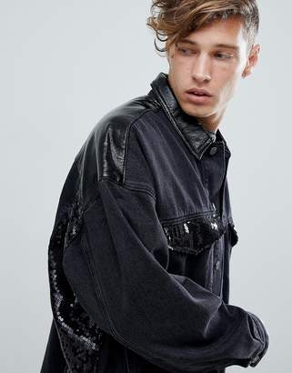 Asos DESIGN oversized denim jacket with vinyl and sequin panels in black