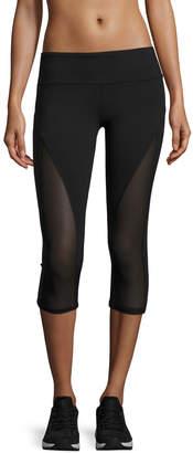 Alo Yoga Equalize Mesh-Inset Capri Sport Leggings, Black