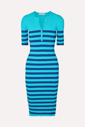 Altuzarra Sunday Striped Ribbed Stretch-knit Midi Dress - Blue
