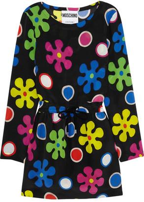 Moschino - Floral-print Silk Mini Dress - Black $1,095 thestylecure.com