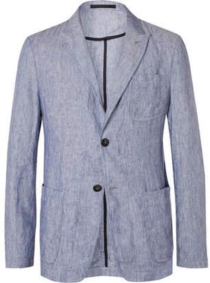 Giorgio Armani Blue Slim-fit Slub Linen Blazer