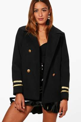 boohoo Short Military Wool Look Coat