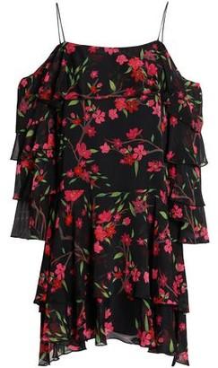 Alice + Olivia Off-The-Shoulder Tiered Floral-Print Crepe Mini Dress