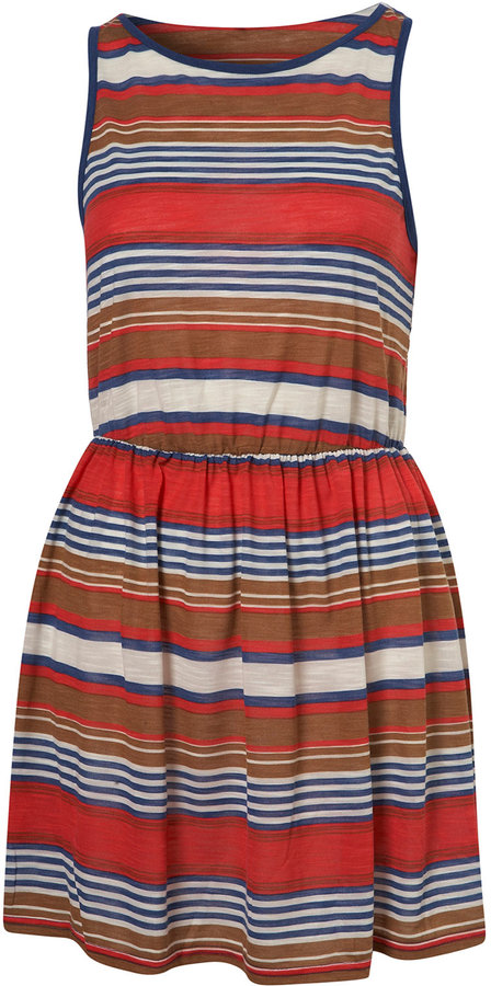 Multi Cruise Stripe Sleeveless Jersey Dress