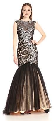 Mac Duggal Women's Long Tulle Mermaid Dress With Beaded Bodice Illusuin Neck