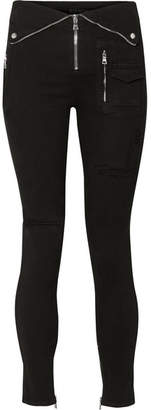 RtA Diavolina Zip-embellished Stretch-denim Leggings - Black