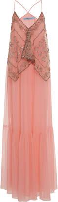 Blumarine Embroidered Silk Maxi Dress