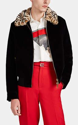 Neil Barrett Men's Leopard-Print-Collar Cotton-Blend Bomber Jacket - Black