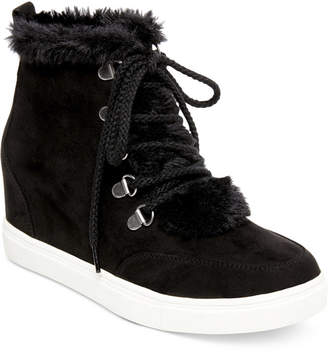 Madden-Girl Pulley Faux-Fur Wedge Sneakers