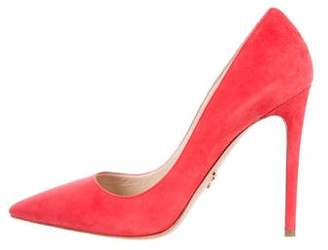 Prada Suede Pointed-Toe Pumps