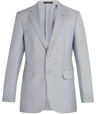 Dunhill Kensington Single Breasted Wool Blend Blazer - Mens - Light Blue
